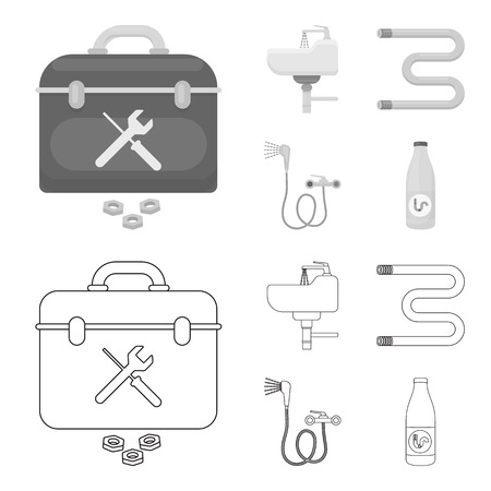 Washbasin, heated towel-dryer, mixer, showers and other equipment.Plumbing set collection icons in outline,monochrome style vector symbol stock illustration web.