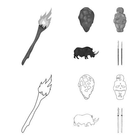 Primitive, woman, man, cattle .Stone age set collection icons in outline,monochrome style vector symbol stock illustration web. 일러스트