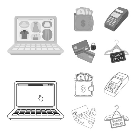Purse, money, touch, hanger and other equipment. E commerce set collection icons in outline,monochrome style vector symbol stock illustration web. Illustration