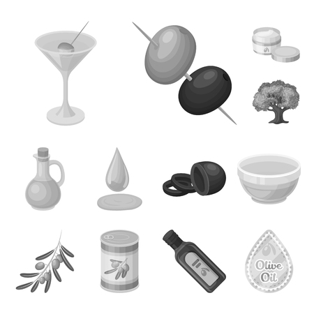 Olive, food monochrome icons in set collection for design. Olive oil, seasoning vector symbol stock web illustration.