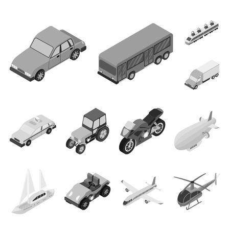 Différents types d'icônes monochromes de transport dans la collection de jeux pour la conception. Illustration de stock web symbole vecteur isométrique voiture et bateau.