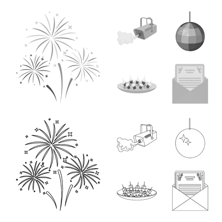 A video camera with smoke, a twirling holiday ball, a plate of sandwiches, an envelope with a greeting card. Event services set collection icons in outline,monochrome style vector symbol stock illustration web.