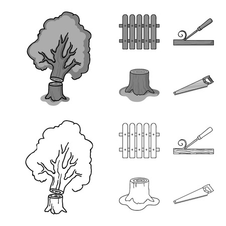 Fence, chisel, stump, hacksaw for wood. Lumber and timber set collection icons in outline,monochrome style vector symbol stock illustration web.