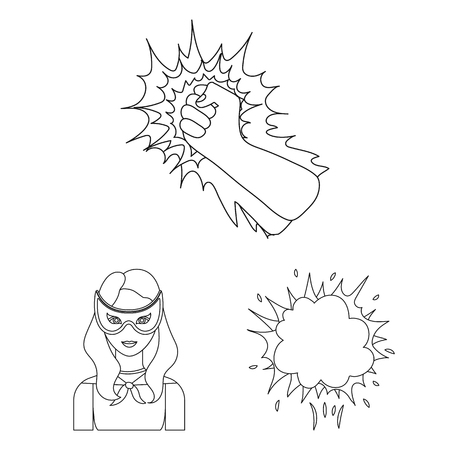 A fantastic superhero outline icons in set collection for design. Superheros equipment bitmap symbol stock web illustration.
