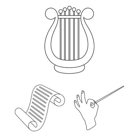 Theatrical art outline icons in set collection for design.Theater equipment and accessories bitmap symbol stock web illustration. Stock Photo