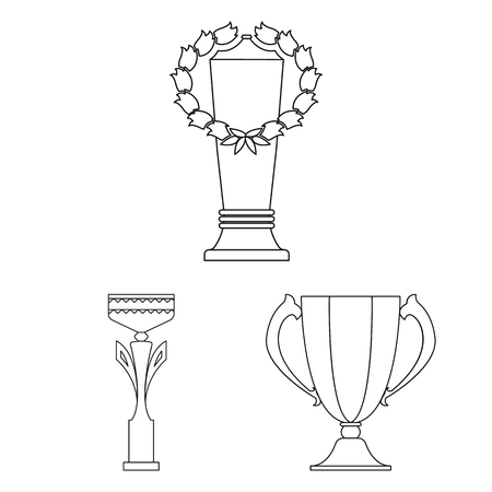 Gold Cup outline icons in set collection for design. Winners Cup bitmap symbol stock web illustration.
