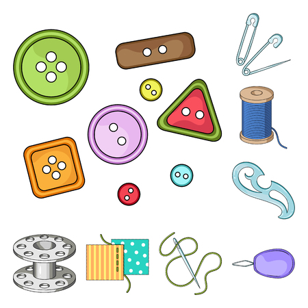Sewing, atelier cartoon icons in set collection for design. Tool kit bitmap symbol stock web illustration. Imagens