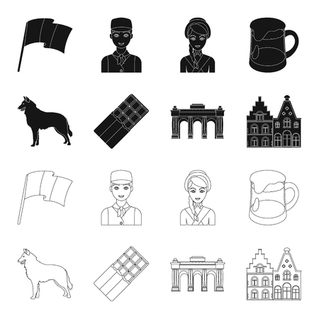 Chocolate, cathedral and other symbols of the country.Belgium set collection icons in black,outline style bitmap symbol stock illustration web. Stock Photo