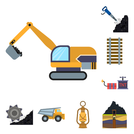 Mining industry cartoon icons in set collection for design. Equipment and tools bitmap symbol stock web illustration.