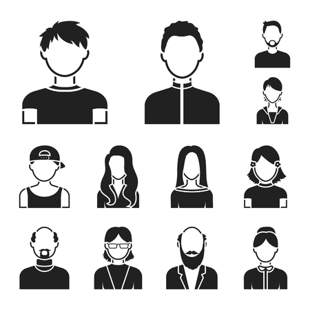 Avatar and face black icons in set collection for design. A persons appearance bitmap symbol stock web illustration.