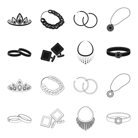 Wedding rings, cuff links, diamond necklace, womens ring with a stone. Jewelery and accessories set collection icons in black,outline style bitmap symbol stock illustration web.