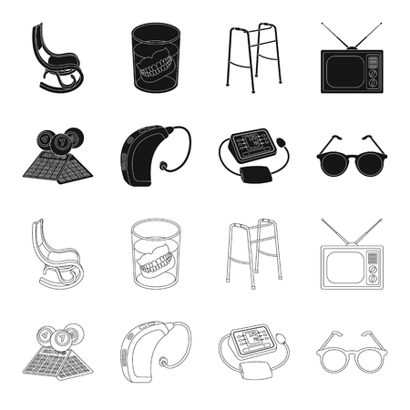 Lottery, hearing aid, tonometer, glasses.Old age set collection icons in black,outline style bitmap symbol stock illustration web.