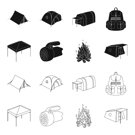 Awning, fire and other tourist equipment.Tent set collection icons in black,outline style bitmap symbol stock illustration web.