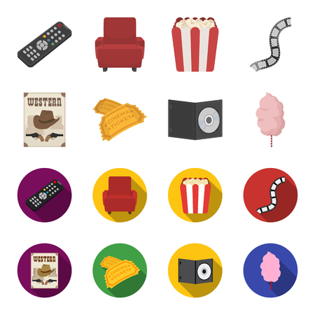 Western cinema, tickets, sweet cotton wool, film on DVD.Filmy and cinema set collection icons in cartoon,flat style bitmap symbol stock illustration web.