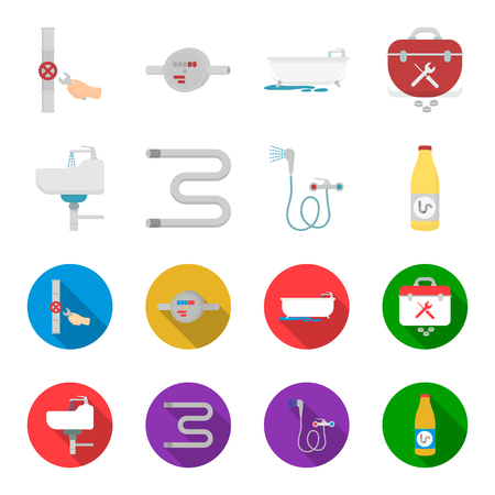 Washbasin, heated towel-dryer, mixer, showers and other equipment.Plumbing set collection icons in cartoon,flat style bitmap symbol stock illustration web. Stock Photo
