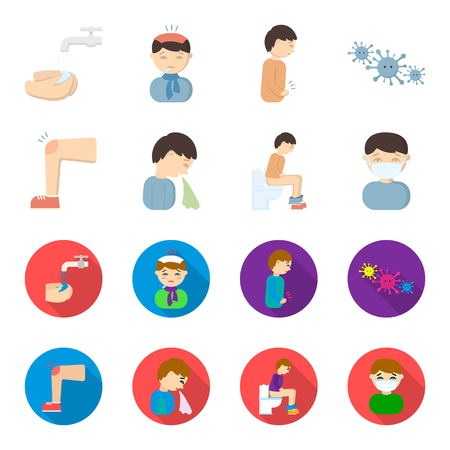 A foot with a bruise in the knee, sneezing sick, a man sitting on the toilet, a man in a medical mask. Sick set collection icons in cartoon,flat style bitmap symbol stock illustration web.