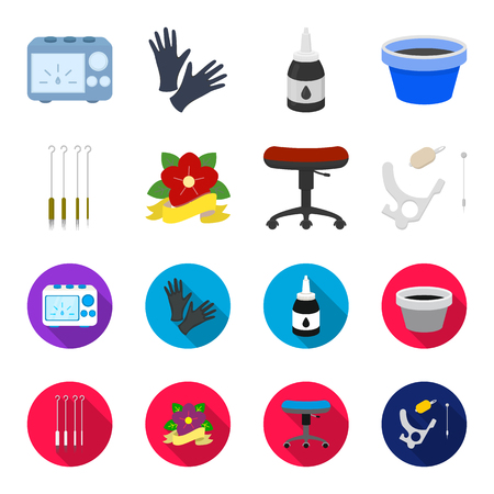Chair on rollers, needles for tattoo and other equipment. Tattoo set collection icons in cartoon,flat style bitmap symbol stock illustration web. Stock Photo