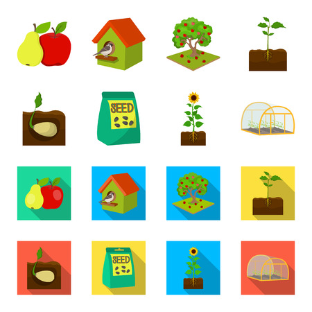 Company, ecology, and other web icon in cartoon,flat style. Husks, fines, garden icons in set collection.