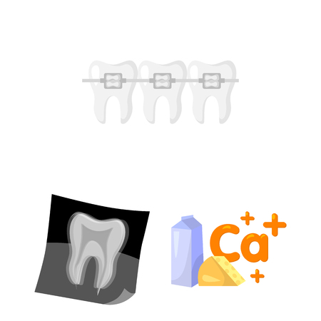 Dental care cartoon icons in set collection for design. Care of teeth vector symbol stock  illustration. Illustration