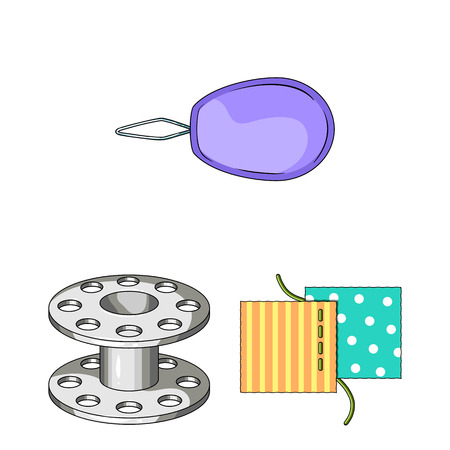 Sewing, atelier cartoon icons in set collection for design. Tool kit vector symbol stock  illustration. Standard-Bild - 106893080