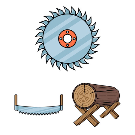 Sawmill and Timber cartoon icons in set collection for design. Hardware and Tools vector symbol stock  illustration. Ilustrace