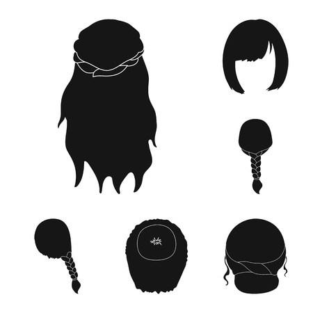 Female hairstyle black icons in set collection for design. Stylish haircut vector symbol stock  illustration. Illusztráció