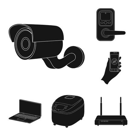 Smart home appliances black icons in set collection for design. Modern household appliances vector symbol stock  illustration.
