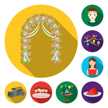 Event Organisation flat icons in set collection for design.Celebration and Attributes vector symbol stock illustration. Ilustración de vector