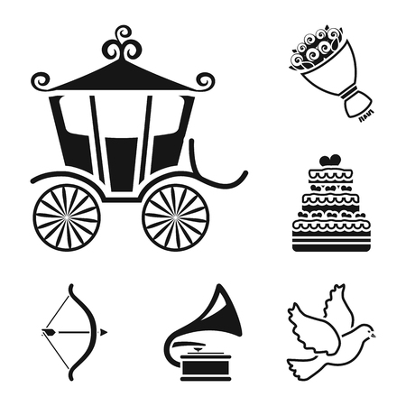 Wedding and Attributes black icons in set collection for design.Newlyweds and Accessories vector symbol stock  illustration. Vectores