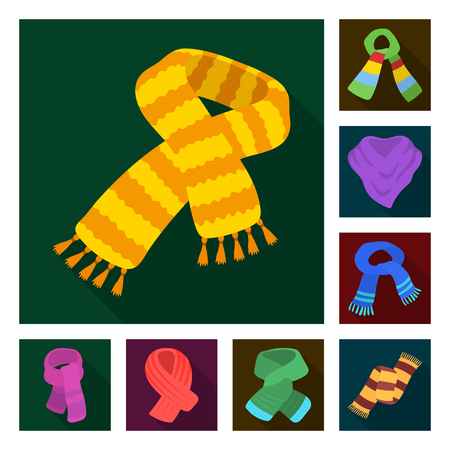Scarf and Shawl flat icons in set collection for design.Clothes and Accessory vector symbol stock  illustration. Иллюстрация