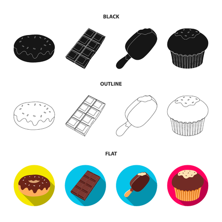 Donut with chocolate, zskimo, shokolpada tile, biscuit.Chocolate desserts set collection icons in cartoon style vector symbol stock illustration .