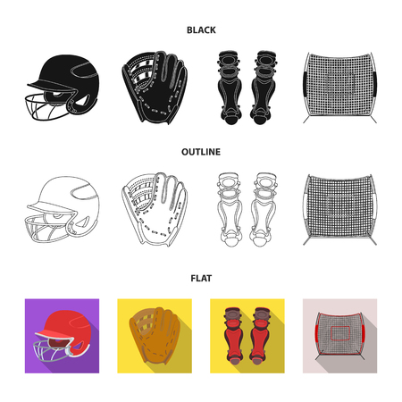Helmet protective, knee pads and other accessories. Baseball set collection icons in cartoon style vector symbol stock illustration .