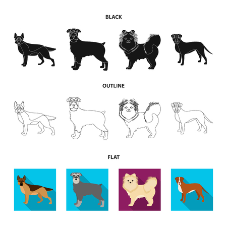 Dog breeds cartoon icons in set collection for design.Dog pet vector symbol stock  illustration. Ilustrace
