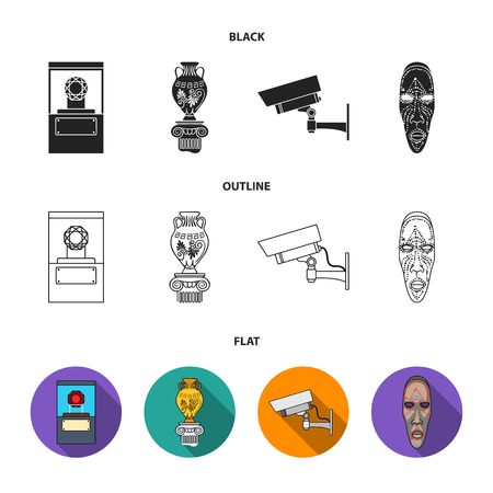 A diamond, a vase on a stand, a surveillance camera, an African mask. Museum set collection icons in cartoon style vector symbol stock illustration web. Иллюстрация