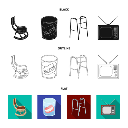 Denture, rocking chair, walker, old TV.Old age set collection icons in cartoon style vector symbol stock illustration web. Foto de archivo - 106956126