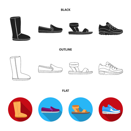 Beige ugg boots with fur, brown loafers with a white sole, sandals with a fastener, white and blue sneakers. Shoes set collection icons in cartoon style vector symbol stock illustration web. Illustration