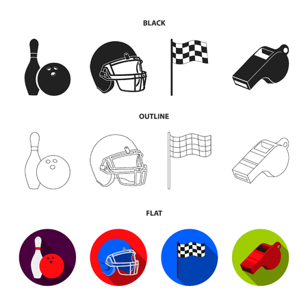 Bowl and bowling pin for bowling, protective helmet for playing baseball, checkbox, referee, whistle for coach or referee. Sport set collection icons in cartoon ,flat style vector symbol stock illustration web. Illustration