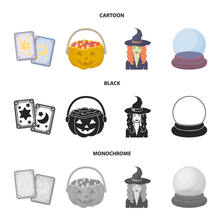 Tarot cards, holiday halloween, magician in a hat, crystal ball. Black and white magic set collection icons in cartoon,black,monochrome style vector symbol stock illustration web.