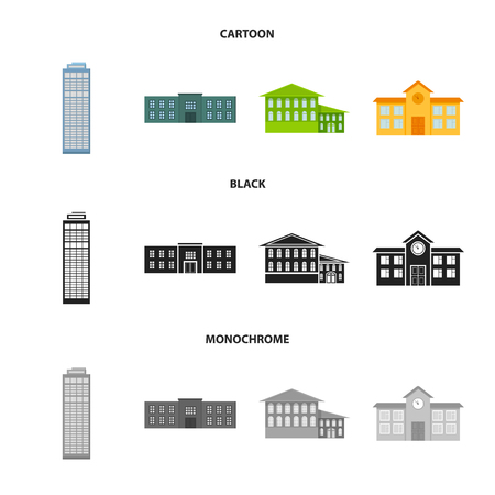 Skyscraper, police, hotel, school.Building set collection icons in cartoon,black,monochrome style vector symbol stock illustration web.