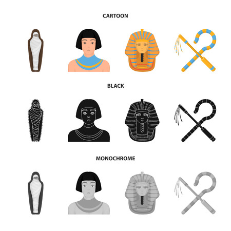 Crook and flail,a golden mask, an egyptian, a mummy in a tomb.Ancient Egypt set collection icons in cartoon,black,monochrome style vector symbol stock illustration web. Stockfoto - 106956240