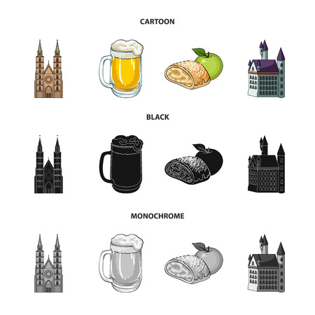 Country Germany cartoon,black,monochrome icons in set collection for design. Germany and landmark vector symbol stock web illustration. Illustration