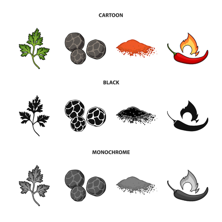 Ptrushka, black pepper, paprika, chili.Herbs and spices set collection icons in cartoon,black,monochrome style vector symbol stock illustration web.