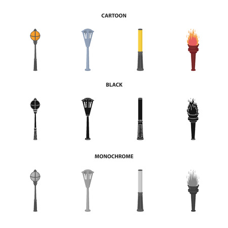 Lamppost in retro style, modern lantern, torch and other types of streetlights. Lamppost set collection icons in cartoon,black,monochrome style vector symbol stock illustration web.
