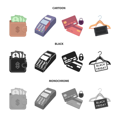 Purse, money, touch, hanger and other equipment. E commerce set collection icons in cartoon,black,monochrome style vector symbol stock illustration web.
