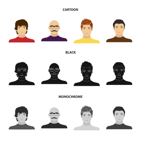 The appearance of the young guy, the face of a bald man with a mustache in his glasses. Face and appearance set collection icons in cartoon,black,monochrome style vector symbol stock illustration web.