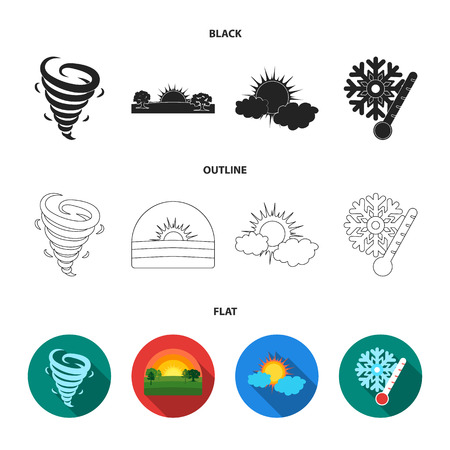 Tornado, sunrise, cloudiness, snow and frost. The weather set collection icons in cartoon style vector symbol stock illustration web.