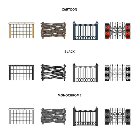 A fence of metal and bricks,wooden palisade. A different fence set collection icons in cartoon,black,monochrome style vector symbol stock illustration web.
