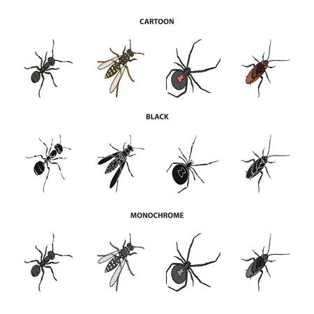 An insect arthropod, an osa, a spider, a cockroach. Insects set collection icons in cartoon,black,monochrome style vector symbol stock isometric illustration web.