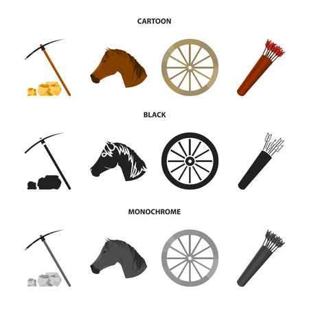 Pickax hoe, horse head, wheel cart, quiver with arrows.Wild west set collection icons in cartoon,black,monochrome style vector symbol stock illustration web. Vettoriali