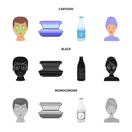 Face mask, solarium, bottle ts lasenom, pimples on face. Skin Care set collection icons in cartoon,black,monochrome style vector symbol stock illustration web. Stock Illustratie